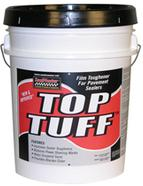 White bucket with red, black and white label says Top Tuff