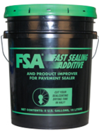 Black bucket with green writing says FSA - fast sealing additive - use for sealcoating asphalt pavement