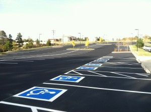 Handicapped spaces in a commercial parking lot
