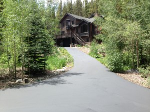 Woodland Park driveway that just had  sealcoating done