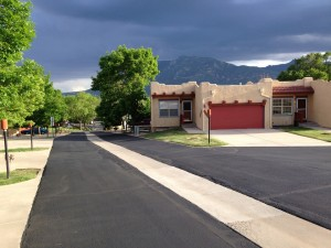 Newly paved parking lot in townhome community in Colorado Springss