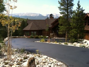 New asphalt driveway on mountain home residence