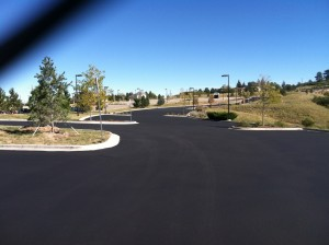 Freshly paved commercial parking lot in Colorado Springs