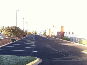 New line striping on commercial parking lot in Colorado