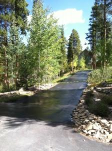 Freshly sealcoated driveway