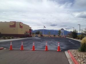 Retail parking lot asphalt sealcoating