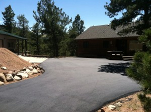Freshly paved driveway in Monument, CO