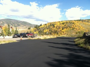 Newly paved private road.