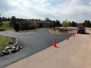 Freshly paved circular driveway