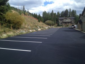 Fresh asphalt paving and line striping at townhome community in Monument, CO