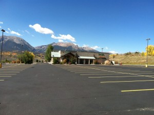 Completed line striping project in commercial parking lot in Colorado Springs