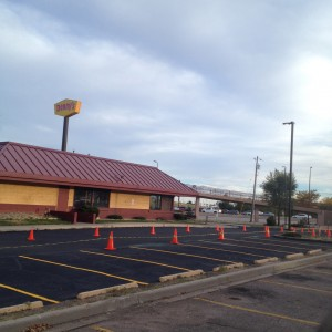Repaved Denny's parking lot and new line striping